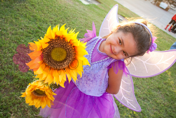 little girl in purple fairy princess costume holding bright yellow sunflowers and smiling with backlit sunshine
